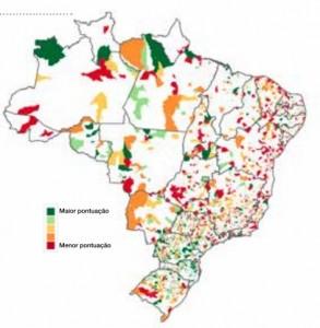 Grau de sustentabilidade financeira dos municípios: em verde os melhores; em vermelho, os piores