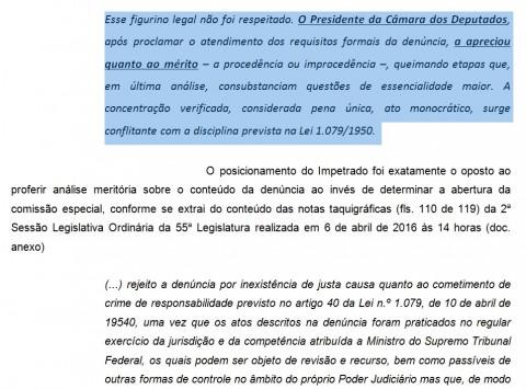 """Trecho do mandado de segurança em que o MBL usa os """"ensinamentos"""" de Marco Aurélio contra... Marco Aurélio"""