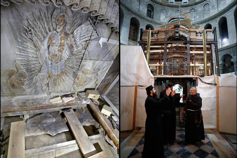 À direita, imagem mostra o interior da tumba onde Jesus Cristo foi sepultado. À esquerda, padres ortodoxos e franciscanos comemoram a abertura da edícula que protege a tumba, que estava fechada desde 1555.