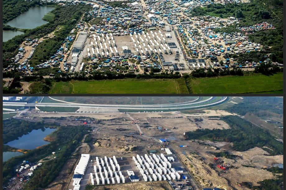 Comparação de fotos de agosto (cima) e novembro de 2016 (baixo), antes e depois da evacuação do acampamento de refugiados em Calais, na França