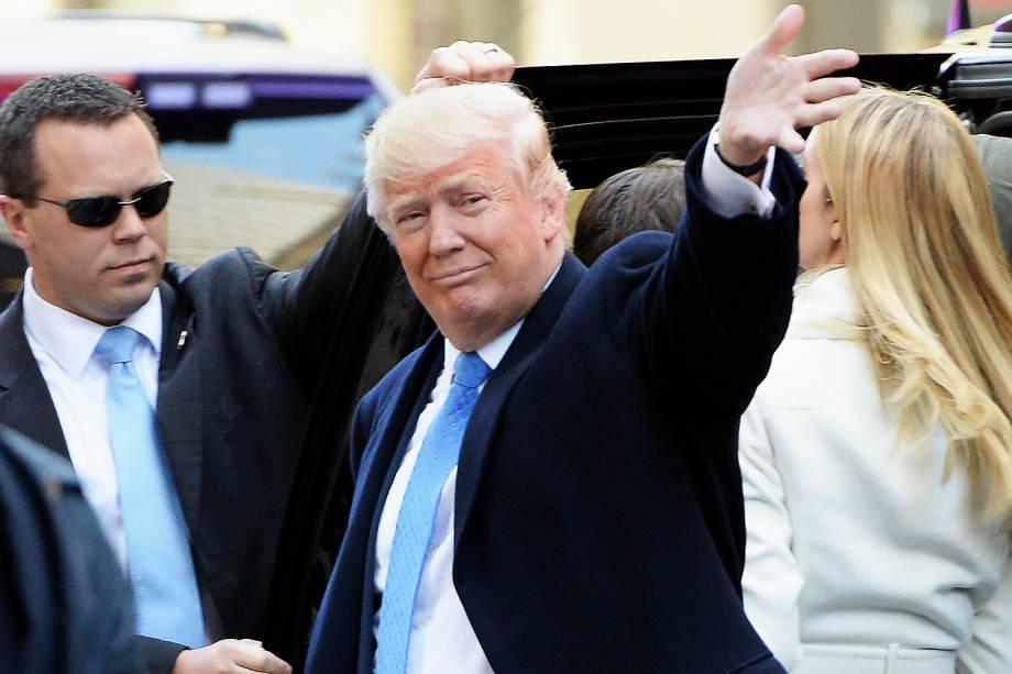 O candidato republicano à Presidência dos Estados Unidos, Donald Trump, chega para votar na Public School 59, em Nova York - 08/11/2016