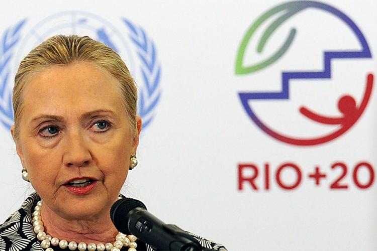 A Secretária de Estado americana, Hillary Clinton, discursa durante Conferência das Nações Unidas sobre Desenvolvimento Sustentável - a Rio +20 - realizada no Rio de Janeiro (RJ) - 22/06/2012