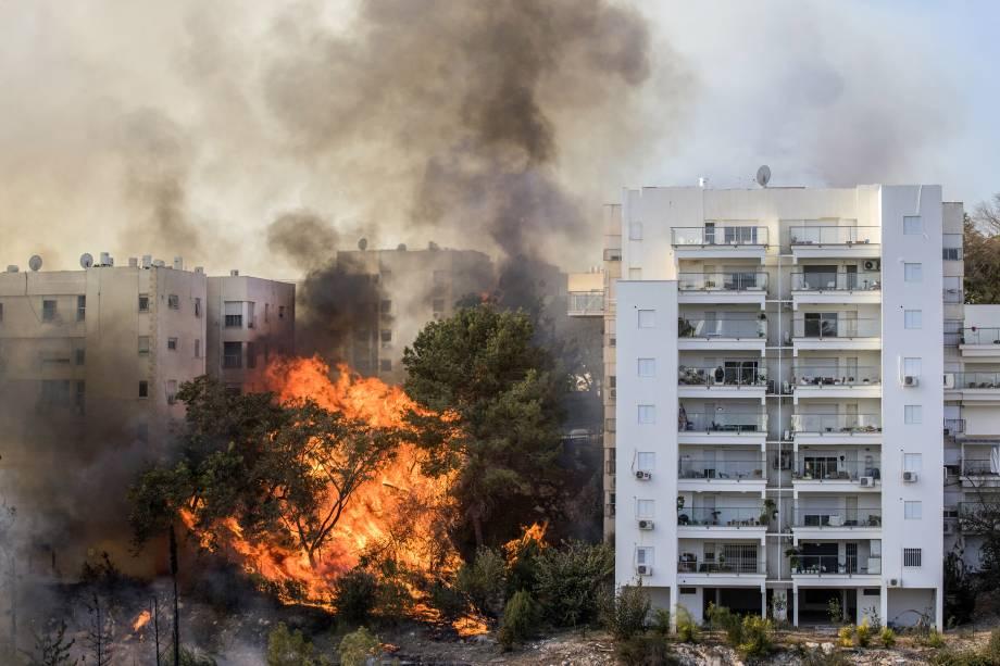 Incêndio atinge a cidade portuária de Haifa, norte de Israel - 24/11/2016