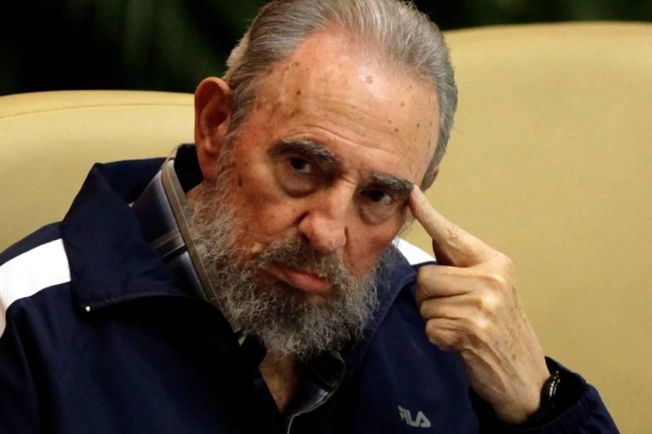 O ex-ditador cubano Fidel Castro, durante cerimônia de encerramento do congresso do Partido Comunista Cubano em Havana no ano de 2011
