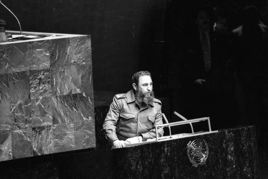 Fidel Castro durante audiência como presidente do Movimento dos Não-Alinhados nas Nações Unidas em Nova York em outubro de 1979