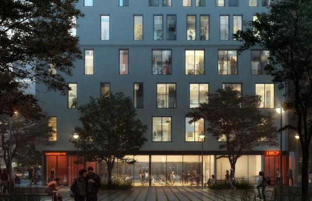 Projeção de como será a fachada do My Micro NY: janelas grandes para disfarçar o aperto (Fotos Divulgação)