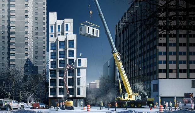 Guindaste monta a estrutura do My Micro NY: moradia popular com estrutura pré-fabricada