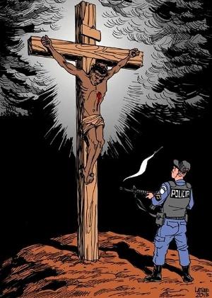 negro crucificado e PM