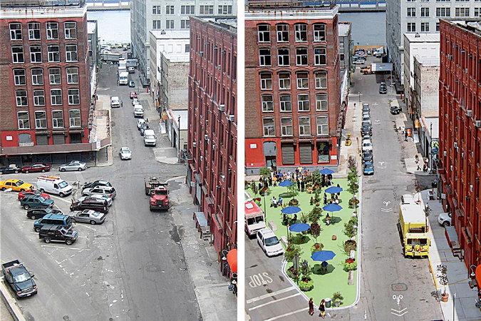 Nova York também criou espaços para pedestres, mas com separação da via com pinos ou vasos de plantas (Fotos: The New York City Department of Transportation)