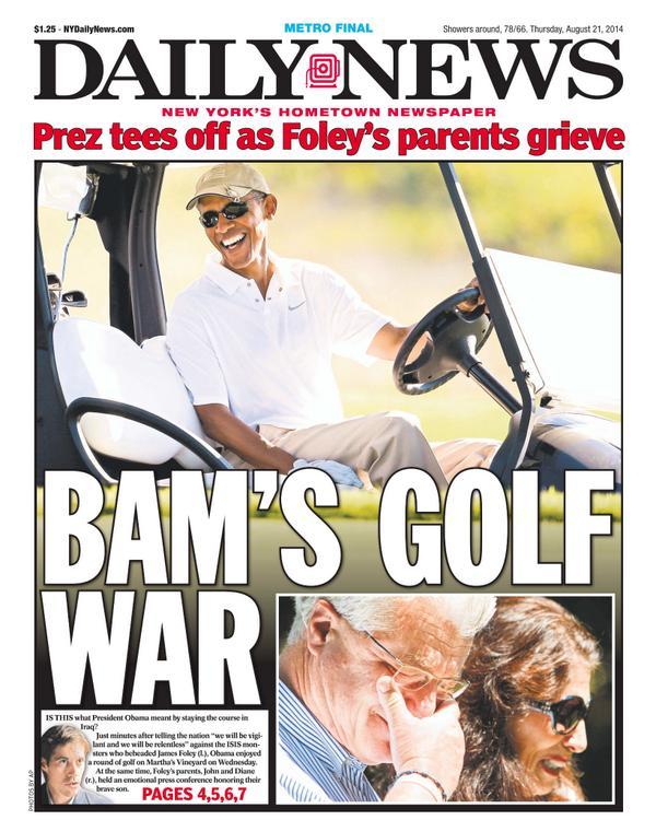 Obama capa Daily News golfe