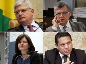 Janot, no alto, à esquerda e, em sentido horário, Bonsaglia, Santos e Raquel: reta final da campanha