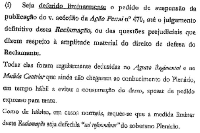 reclamação de Márcio Thomaz Bastos