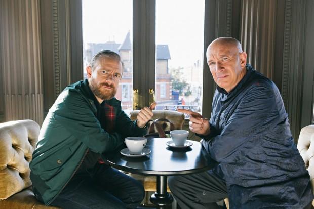 Martin Freeman, que interpreta uma versão ficcional de si mesmo, e Simon Day em 'Brian Pern: A Life in Rock'. (Foto: Rory Lindsay/BBC)