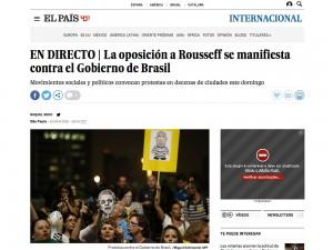 Página do El País:  caso raro de reportagens melhores e mas frequentes