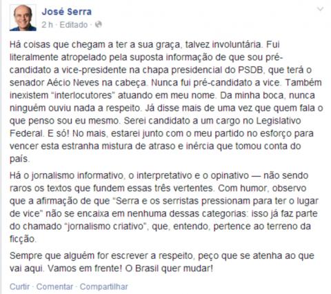 Serra Face candidatura