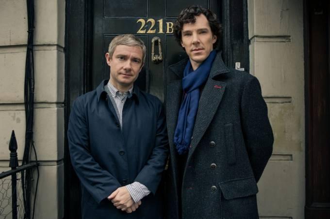 "Benedict Cumberbatch e Martin Freeman em ""Sherlock"""