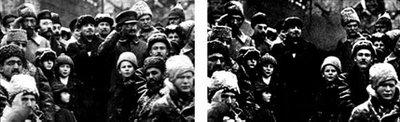 """Ato comemora o seguno ano do golpe bolchevique na Rússia, chamado de """"revolução"""". Na foto da esquerda, sempre de quepe, Trotsky aparece ao lado de Lênin. Depois que Stálin """"corrigiu"""" o passado, como fazem os petistas, seu inimigo desapareceu da história"""