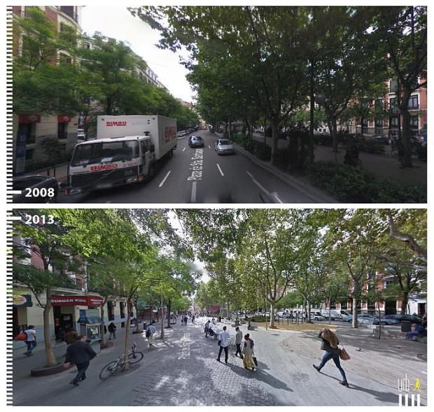 Pedestres ganham vez em Madri, na Espanha