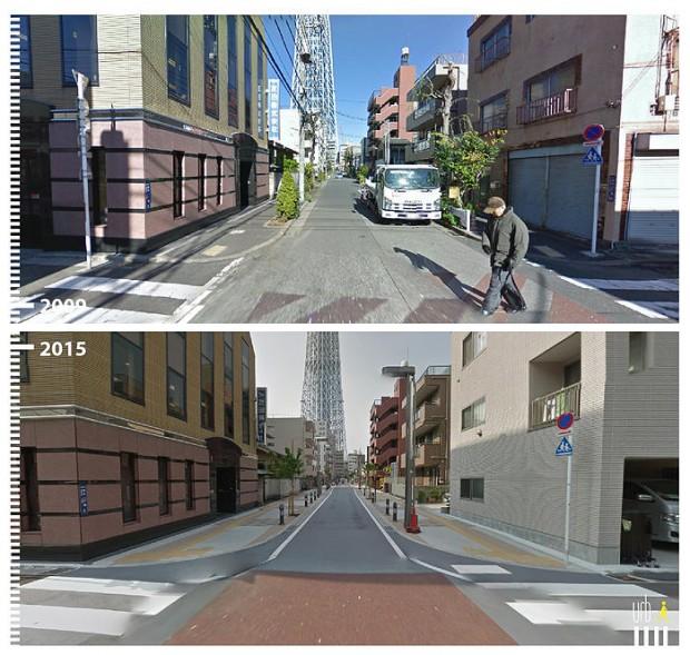 Em Narihira, em Tóqui, no Japão, as vias também foram reformuladas