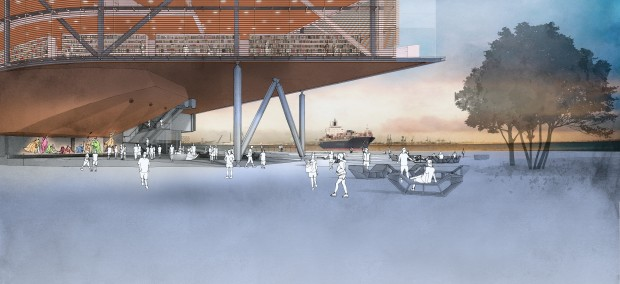 Praça aberta integra o futuro edifício à cidade
