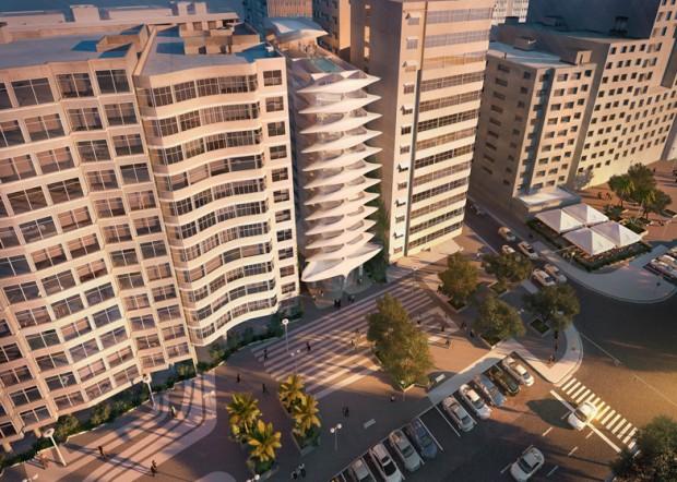 Projeção da Avenida Atlântica com o edifício assinado por Zaha Hadid, que começa a ser construído em março