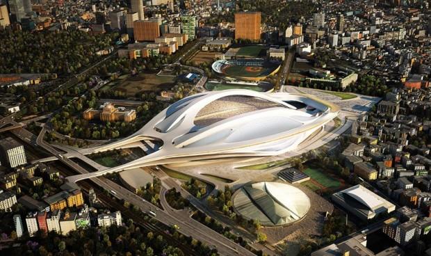 Projeto inicial de Zaha Hadid para o estádio de Tóquio: 2 bilhões de dólares