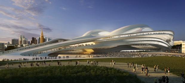 Perspectiva do estádio que abrigará os principais eventos das Olimpíadas de Tóquio 2020