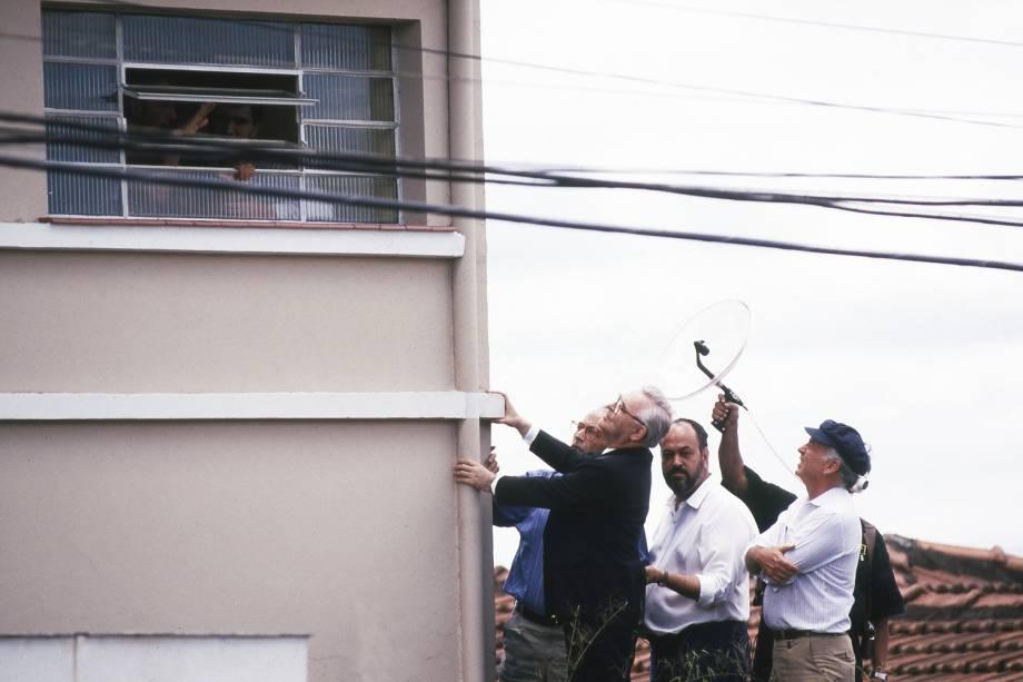Dom Paulo Arns conversando com Abílio Diniz durante o sequestro do empresário - 12/07/89