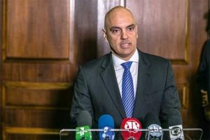 O governador Geraldo Alckmin durante a apresentação do novo secretário de segurança pública, Alexandre de Moraes.