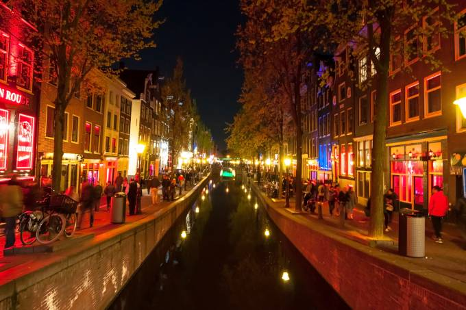 Red light district (Wallen) at night  in Amsterdam, the Netherlands.