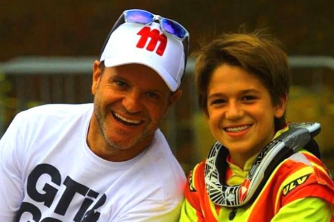 Rubens Barrichello e o filho Dudu, de 14 anos