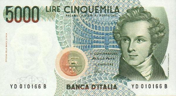 Imagem de Bellini na nota de 5000 liras
