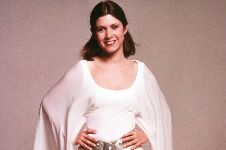 "Carrie Fisher como princesa Leia, personagem do ""Star Wars"", de George Lucas."