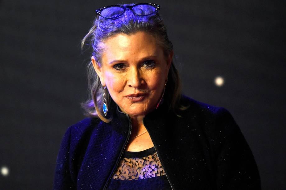 A atriz Carrie Fisher famosa pelo papel de Princesa Leia na Guerra das Estrelas