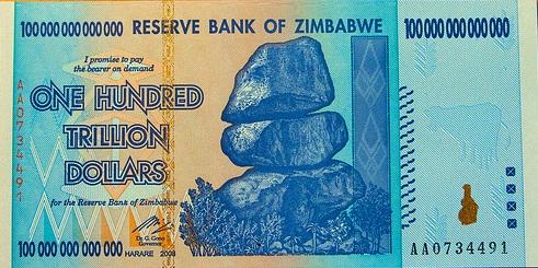 A nota de 100 trilhões de dólares, do Zimbábue: inflação irresistível