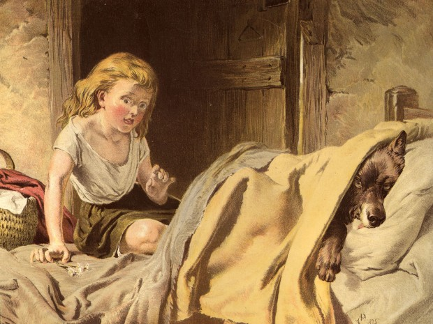 circa 1812:  Little Red Riding Hood is surprised to find a wolf in bed instead of her grandmother, from the fairy tale by the brothers Grimm.  Illustration by Dave Cooper  (Photo by Hulton Archive/Getty Images)