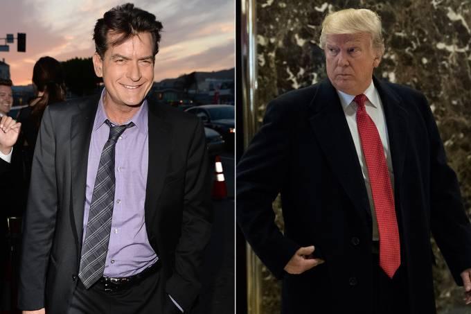 Ator Charlie Sheen e presidente eleito dos Estados Unidos, Donald Trump