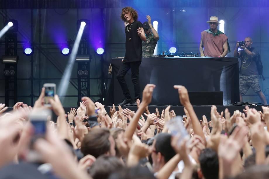 A banda Cheatcodes se apresenta durante o Festival Z no Allianz Parque em São Paulo