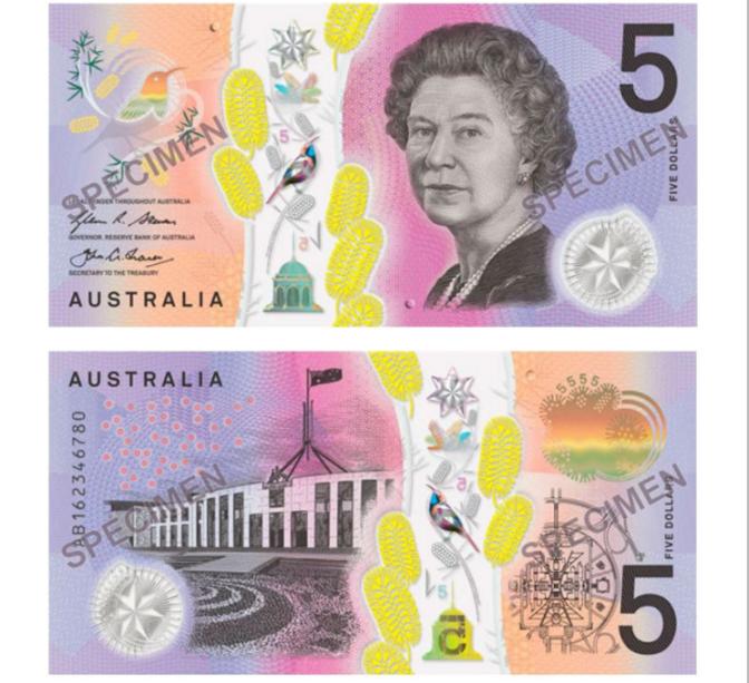 A rainha Elizabeth II, da Inglaterra, estampa a nota de 5 dólares australianos que concorre ao prêmio