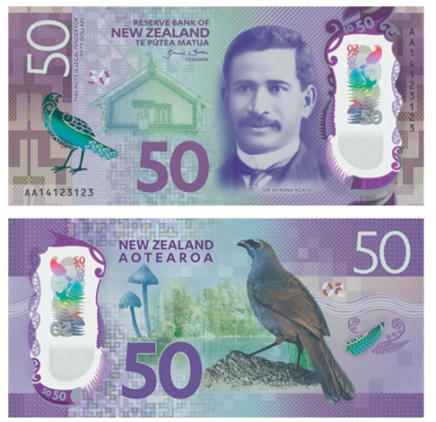 A Nova Zelândia concorre ao prêmio com anota de 50 dólares neozelandeses
