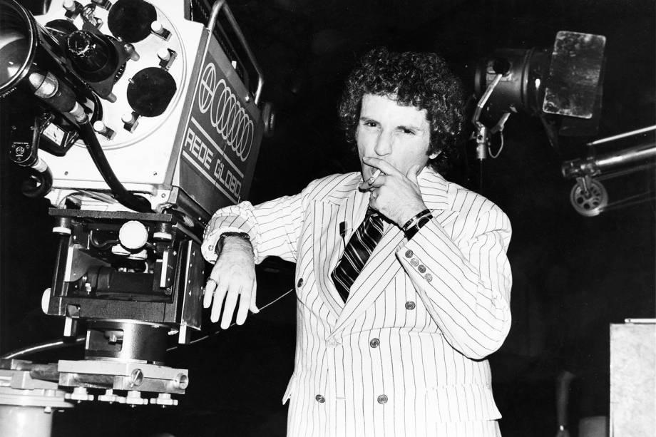Jô Soares no estúdio da Rede Globo - 1973