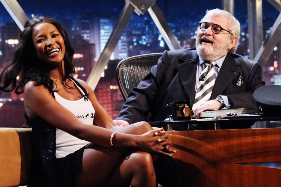 """Jô Soares entrevista Naomi Campbell durante a gravação do """"Programa do Jô"""", da Rede Globo - 26/11/2008"""
