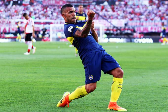 O jogador Tevez, do Boca Juniors
