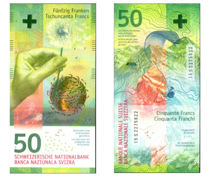 Cédula de 50 francos suíços, uma das concorrentes da edição 2016 do 'Oscar das Moedas'