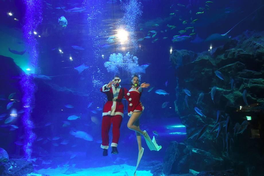 Mergulhadores vestidos com roupas de natal acenam para o público durante evento no aquário de Goyang, na Coreia do Sul