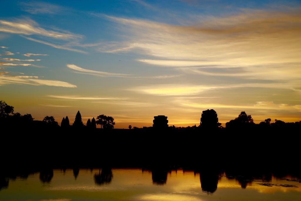 Uma das primeiras fotos que fiz ao chegar em Angkor Wat, ao amanhecer