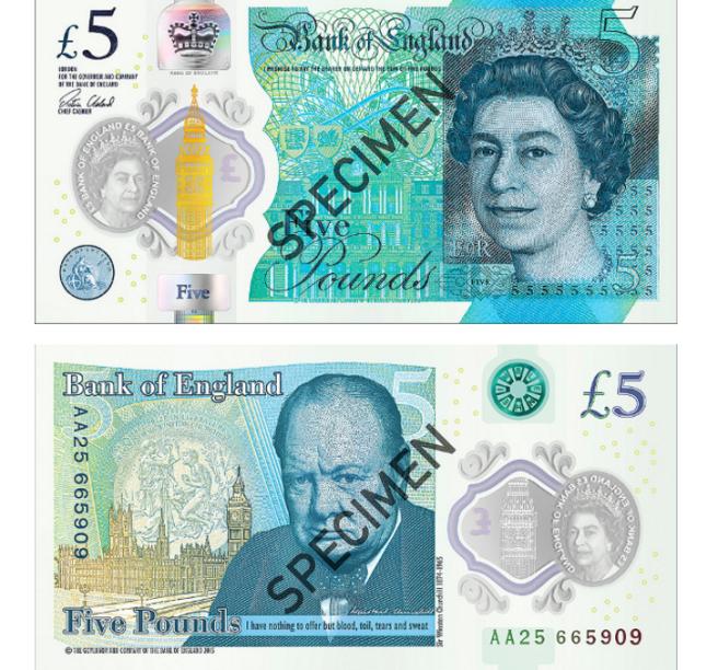 A rainha Elizabeth II também aparece na cédula de 5 libras esterlinasindicada ao prêmio. Em uma das faces da notaaparece ainda a imagem do ex-primeiro-ministro britânico Winston Churchill