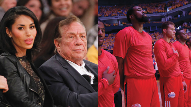NO WAY OUT - Sterling (left) accompanied by his lover, Stiviano: after the tape was leaked, the Clippers players protested by wearing their shirts inside out (above) (Danny Moloshok/AP/MARCIO JOSE SANCHEZ/AP)