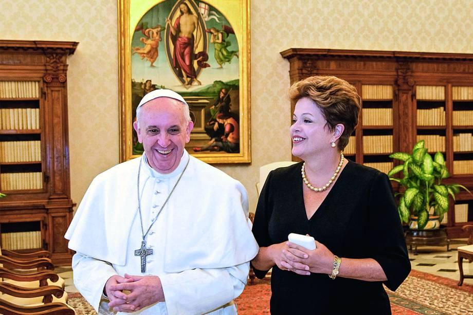 Papa Francisco recebe a então presidente da República, Dilma Rousseff, no Vaticano - 20/03/2013