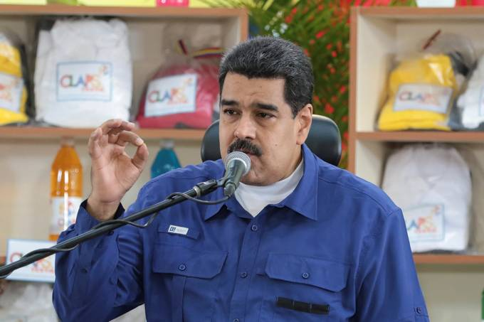 O presidente da Venezuela, Nicolás Maduro, durante pronunciamento